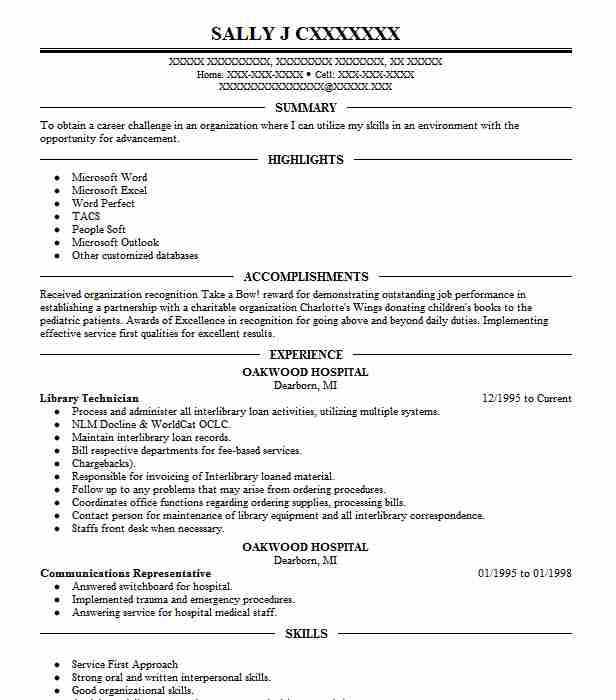 library technician resume sample