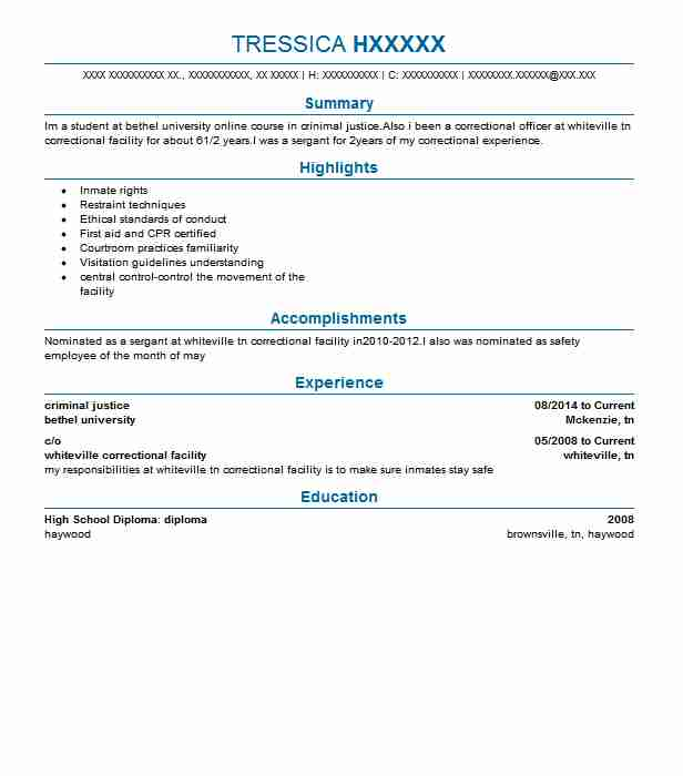 criminal justice resume objectives resume sample