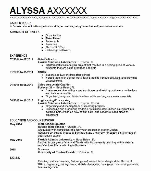 data collector resume sample