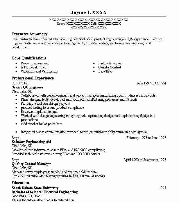 16 Engineering Management (Engineering) Resume Examples in South ...