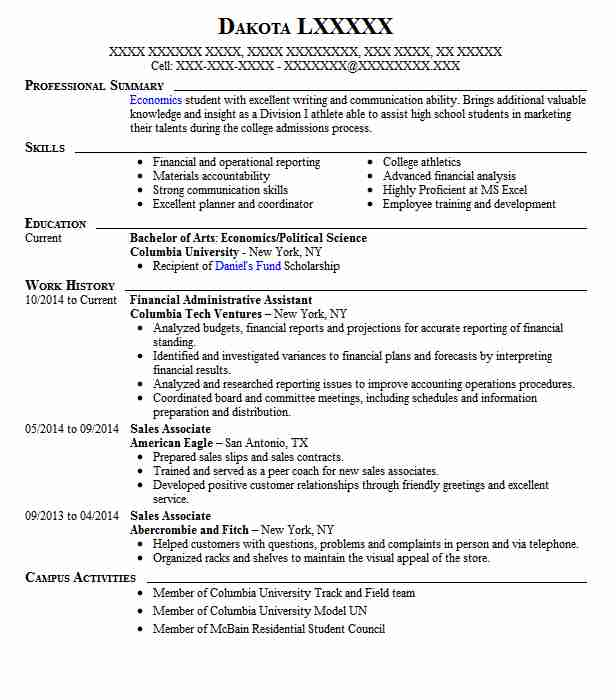 financial administrative assistant resume sample