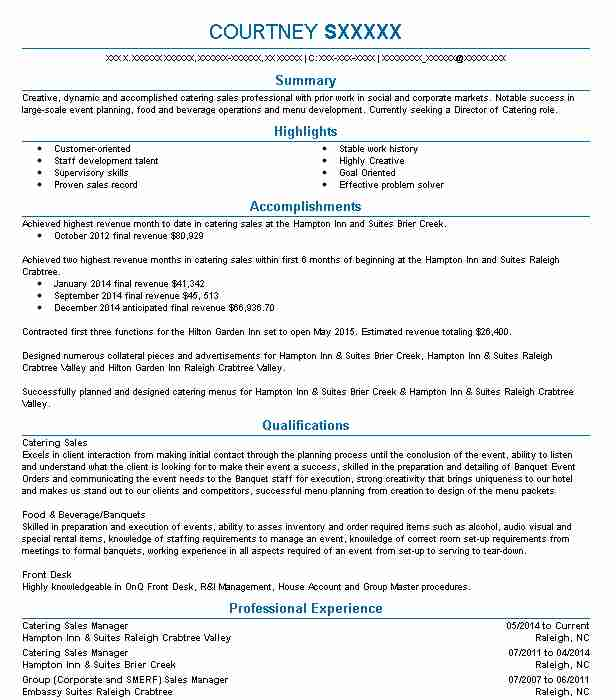 562 Catering Resume Examples in North Carolina   LiveCareer