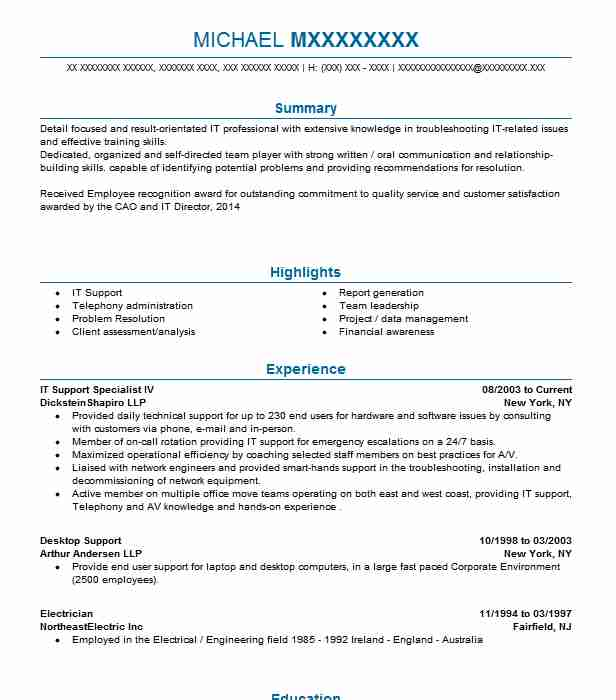 best technical support resume example livecareer