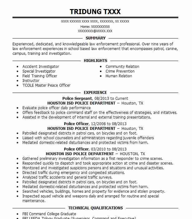 police officer resume example department of veterans affairs police