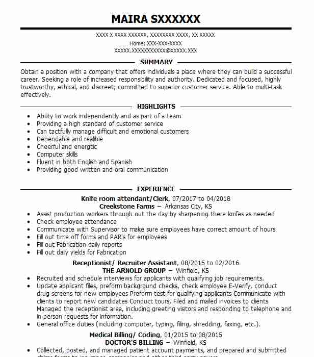 Dining Room Attendant Resume Sample