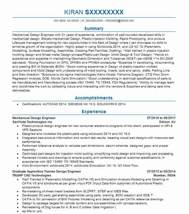 Mechanical Design Engineer Resume Example Livecareer