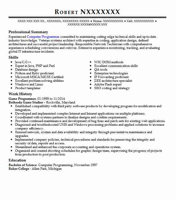 Game Programmer Resume Sample Programmer Resumes