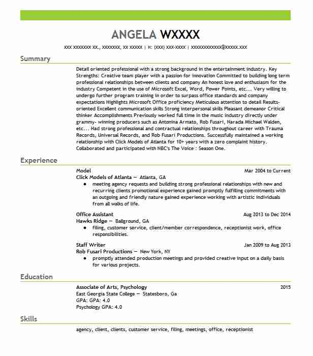 Model Resume Example Model Resumes Livecareer