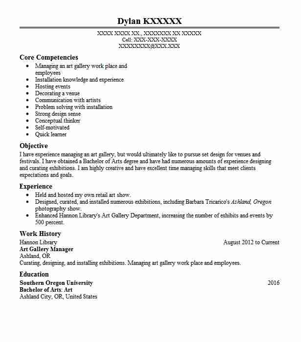 Art Gallery Manager Resume Sample | Manager Resumes ...