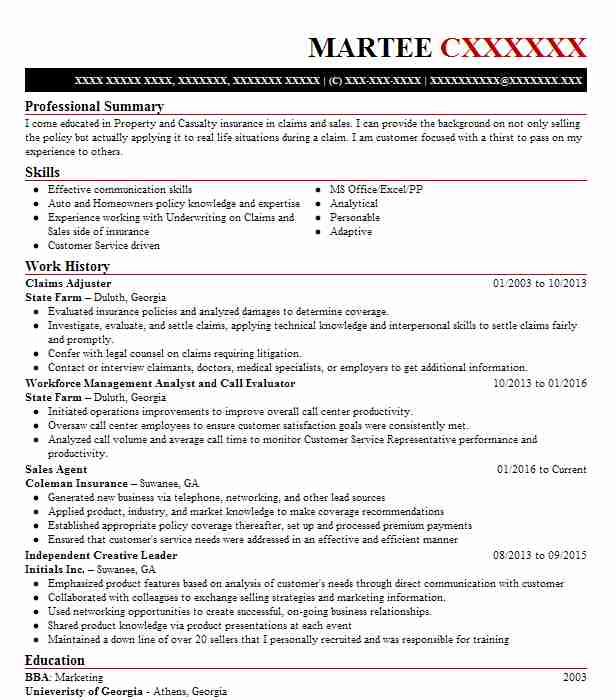 claims adjuster resume example travelers insurance