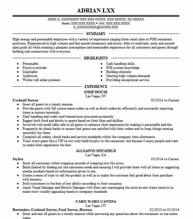 cocktail server and hostess resume example michael mina