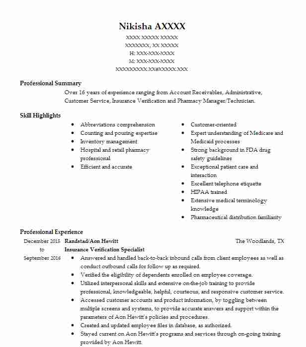Insurance Verification Specialist Resume Sample Livecareer