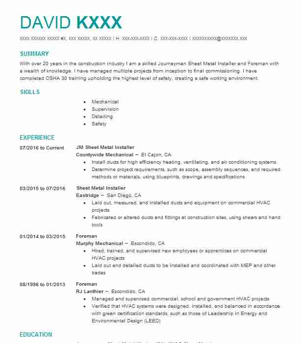 1334 Metal Workers (Construction) Resume Examples in California ...