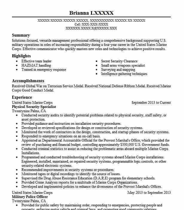 physical security specialist resume sample