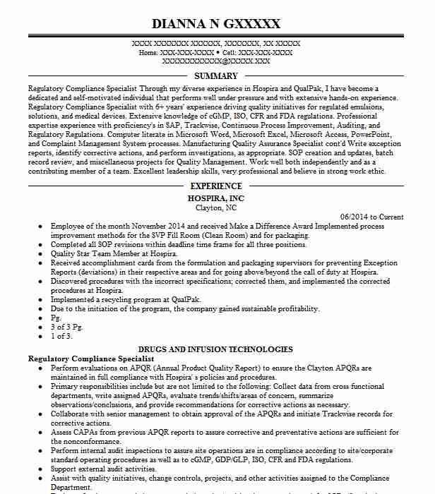 regulatory compliance specialist resume sample