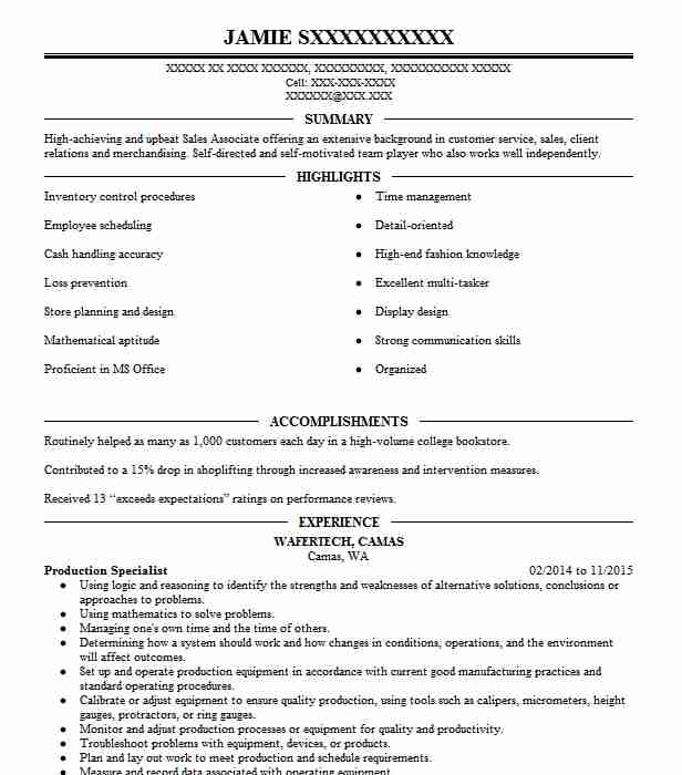production specialist resume example polymedco inc