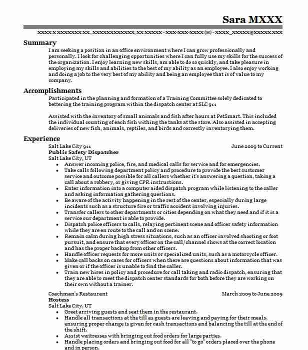 Public Safety Dispatcher 911 Operator Resume Example South