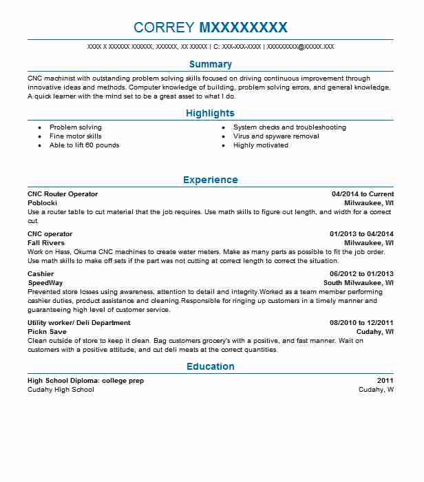 cnc router operator resume sample operator resumes livecareer