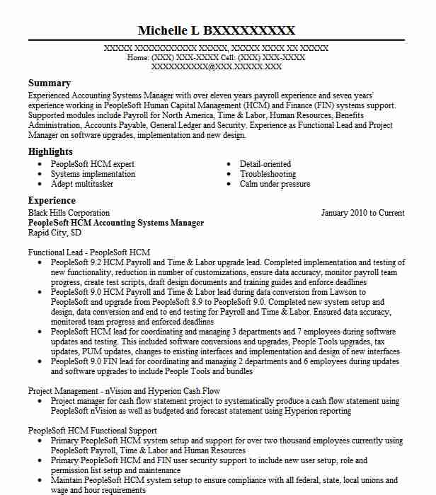 Peoplesoft Security Systems Analyst Resume Example