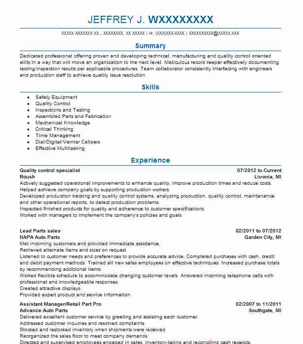 quality control specialist - Quality Control Technician Resume