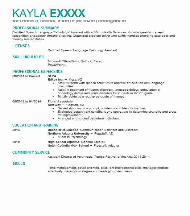 187 Speech Pathology And Audiology Resume Examples in Arizona ...