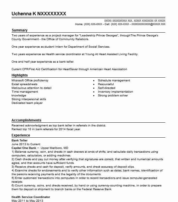 Bank Teller Cover Letter Samples For Resume: Bank Teller Resume Objectives Resume Sample