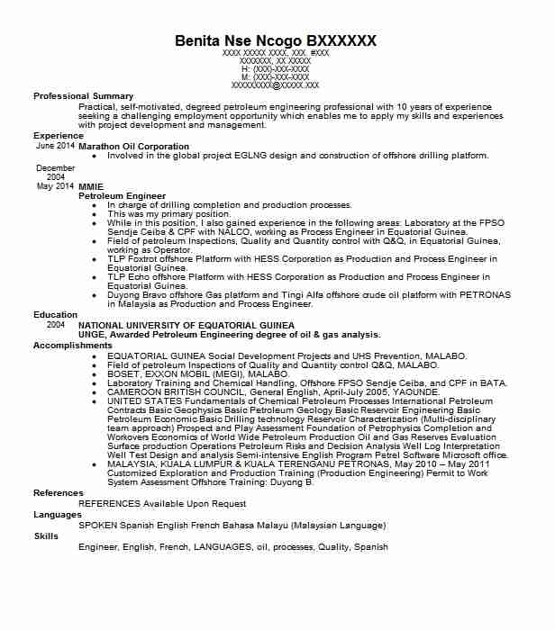 petroleum engineer resume sample