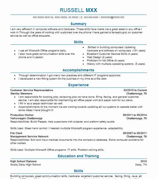 find resume examples in chattanooga  tn
