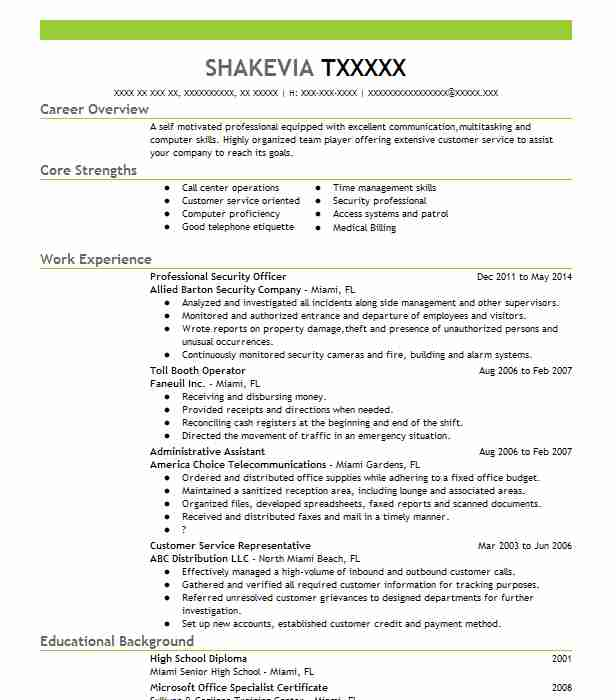 best professional security officer resume example