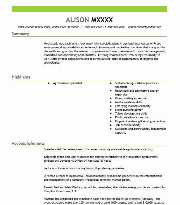 Agribusiness Manager Resume Sample | Manager Resumes | LiveCareer