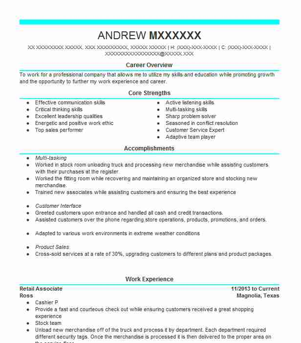 Retail Associate Objectives | Resume Objective | LiveCareer