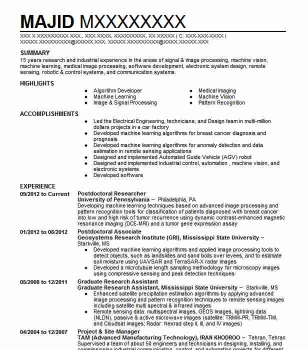 postdoctoral researcher resume example the university of