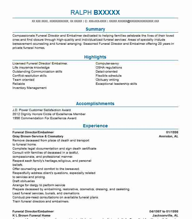 Top Morticians And Embalmers Resume