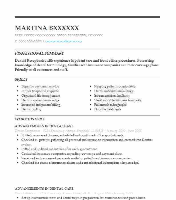 sample resume for dental receptionist
