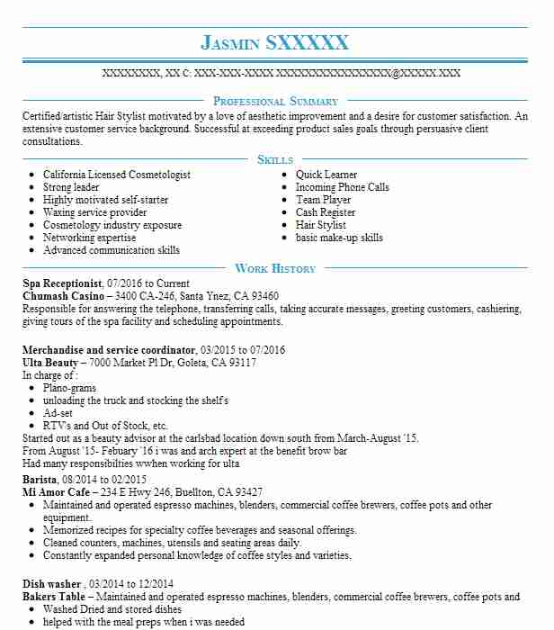 spa receptionist resume sample