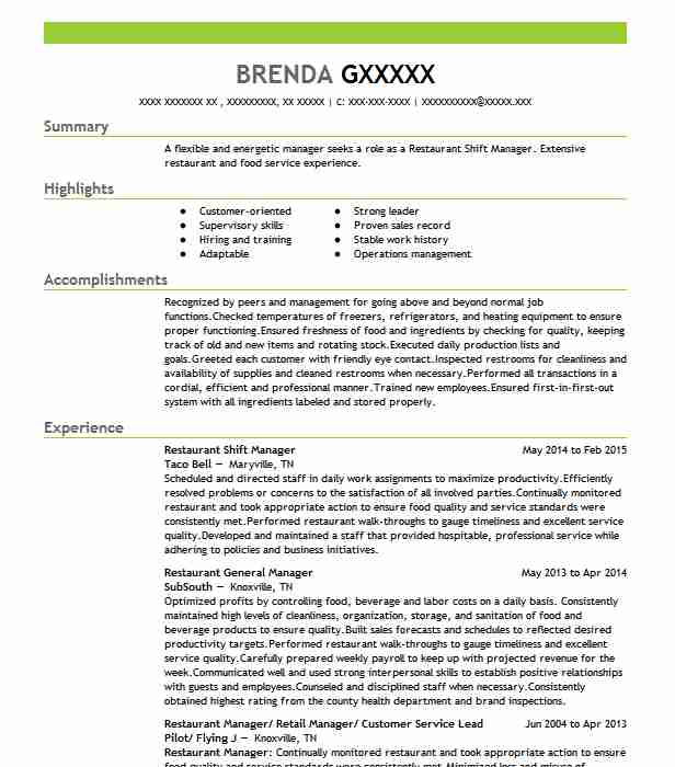 best restaurant shift manager resume example