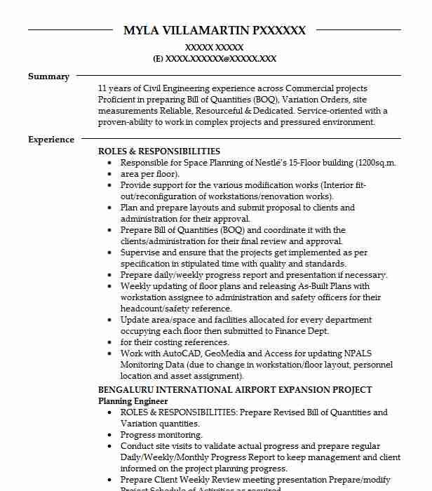 Planning Engineer Resume Sample | Technical Resumes | LiveCareer