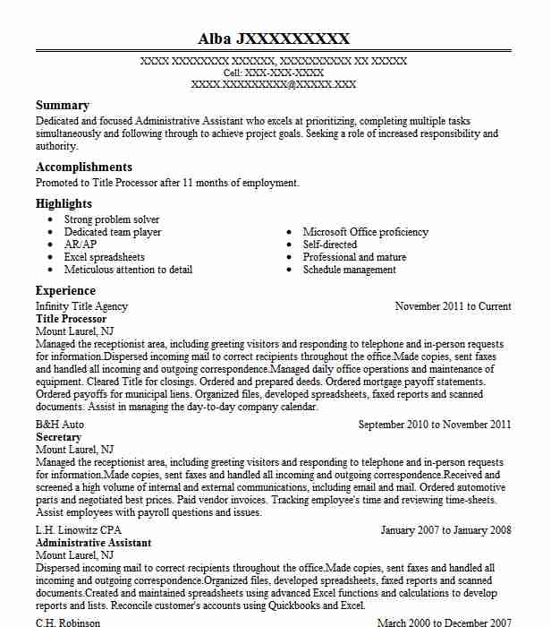 title processor resume sample