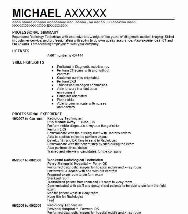 best radiology technician resume example