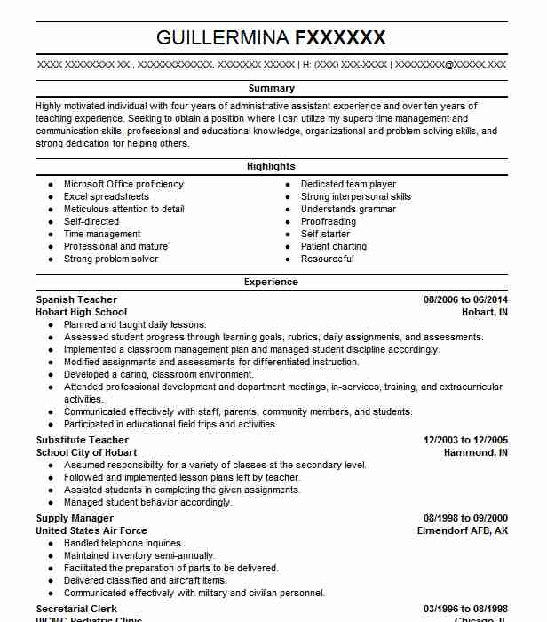 Spanish Teacher Resume Sample Teacher Resumes Livecareer