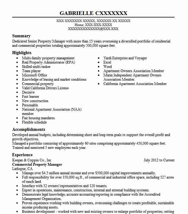 commercial property manager resume sample