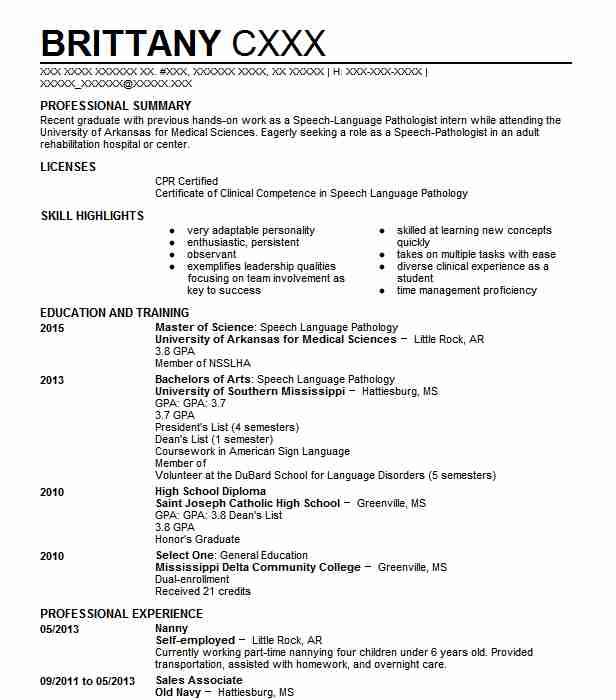 Nanny Resume Example (Self Employed ) - Little Rock, Arkansas