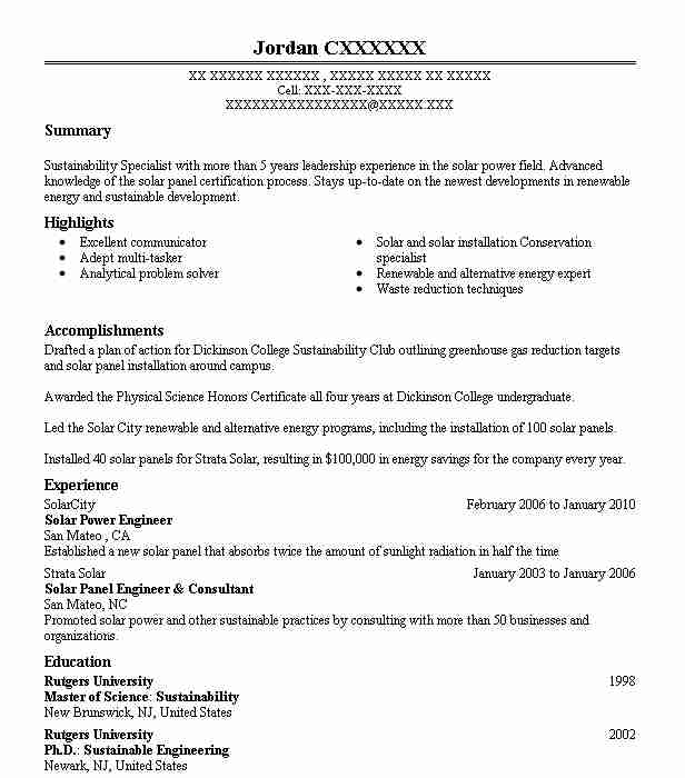 solar power engineer resume sample