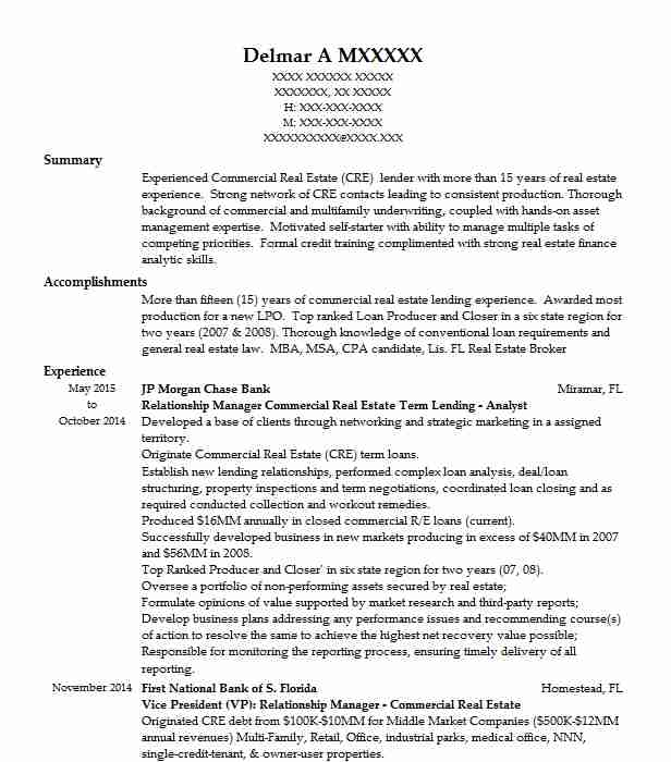 vice president  commercial real estate lending resume