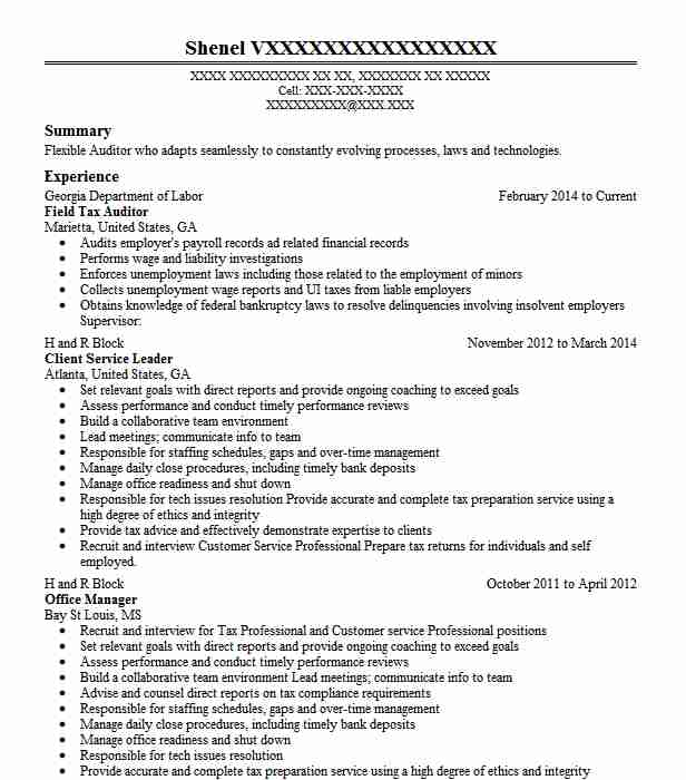 Tax Auditor Resume Sample: Staff Tax Auditor Resume Example Employment Development