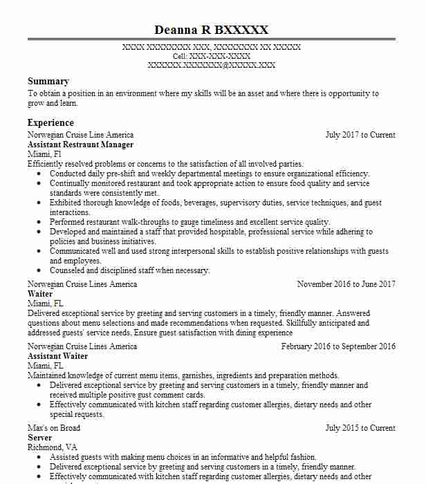 Assistant Restraunt Manager Resume Example Norwegian Cruise Line