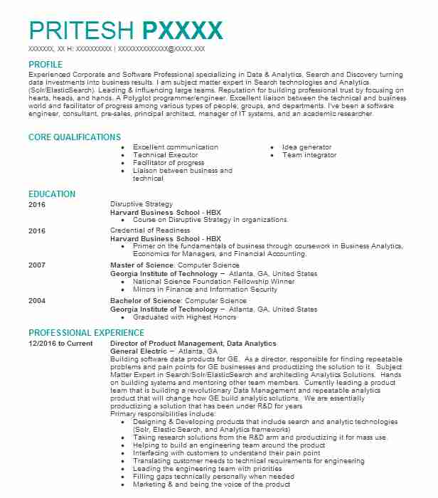 Director Of Product Management, Data Analytics Resume Example ...