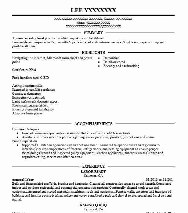General Labor Resume Objectives Resume Sample | LiveCareer