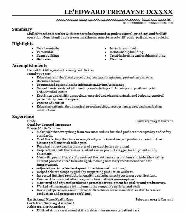 Quality Control Inspector Resume Sample | LiveCareer
