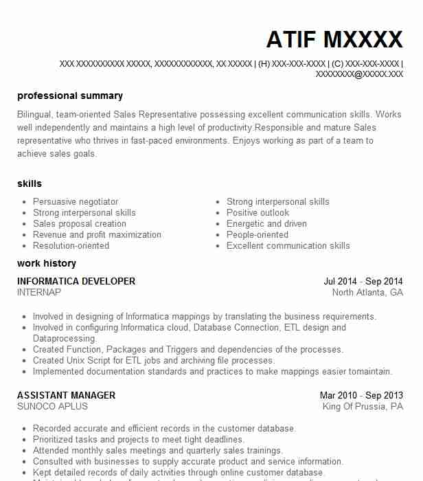 Informatica Developer Resume Sample | Developer Resumes | LiveCareer